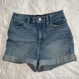 Jean shorts mom high rise style with rolled hem